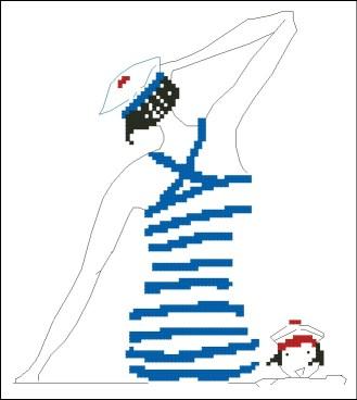 Gráfico de punto de cruz para descargar GRATIS en PDF, imprimir y bordar mujer con bañador a rayas