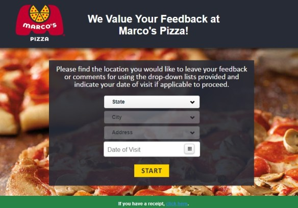 tellmarcos feedback survey page without receipt