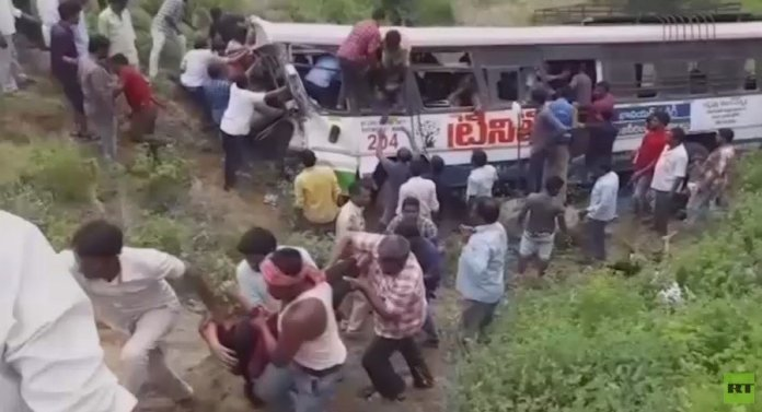 Bus crash in India kills 52 passengers as vehicle plummets into valley
