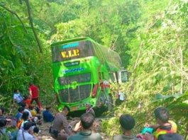 53 injured as bus plunges into valley after collision