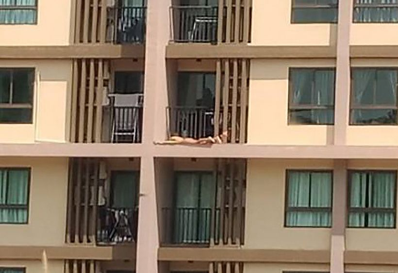 Pic of female sunbather on Phuket balcony goes viral in social media