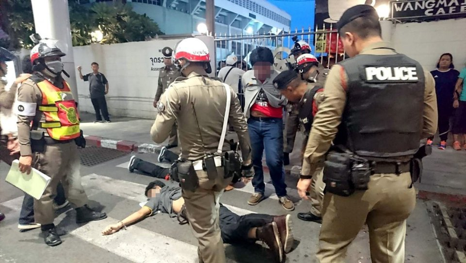 Bangkok police address student brawl