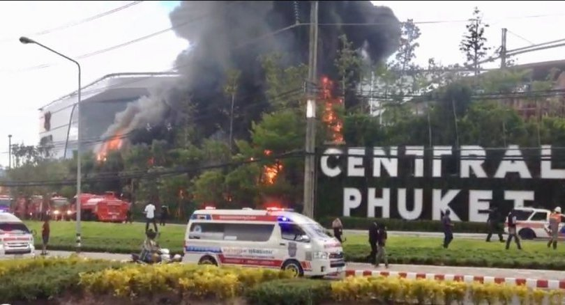 Fire damages exhibition zone of Central Phuket Foresta mall