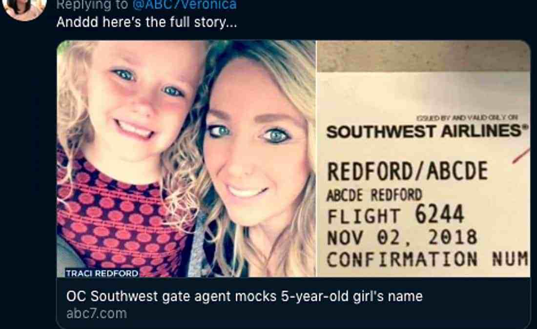 Airline staff mock young girl over her name – Abcde
