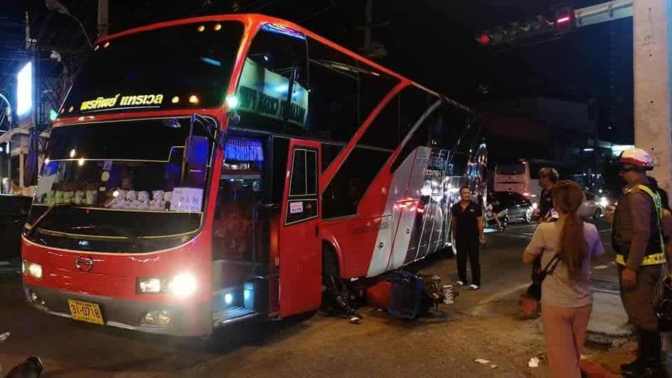 Motorcyclist lightly injured after bus crushes bike in Pattaya