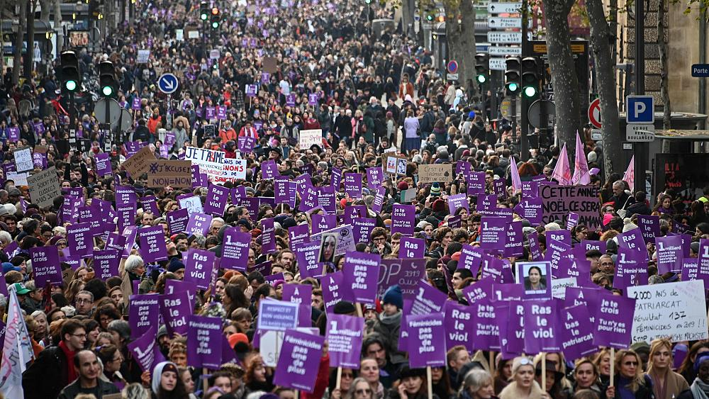 'France's shame': Thousands protest in Paris against domestic violence