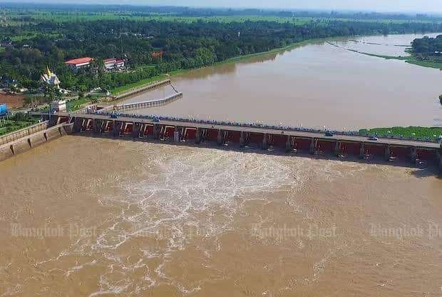 warning been issued flooding Chao Phraya reservoir Thailand