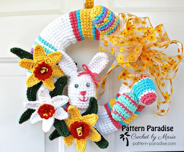 Free Crochet Pattern Spring Wreath Pattern Paradise