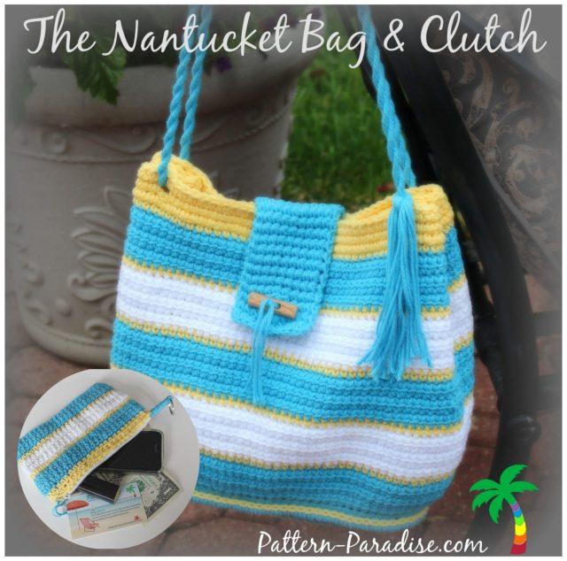 Crochet Pattern for Nantucket Bag & Clutch by Pattern-Paradise.com