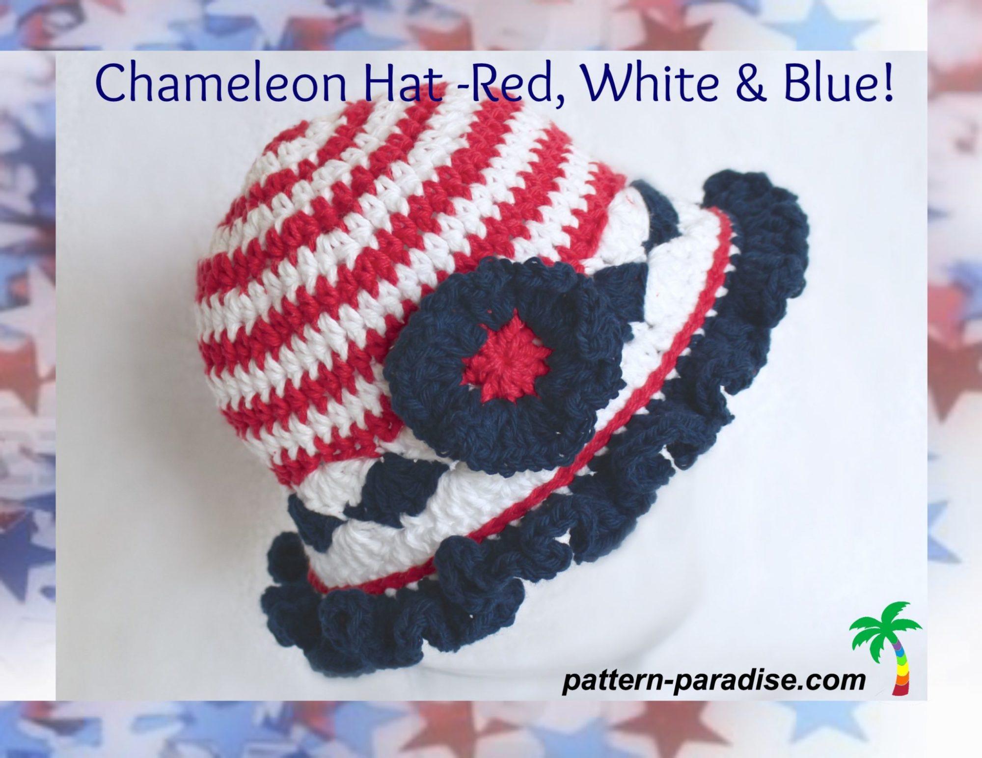 Free Crochet Pattern Chameleon Hat Red White Amp Blue