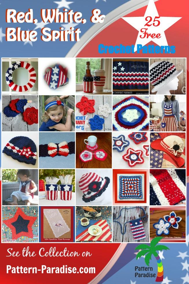 Red, White, Blue Crochet Patriotic Spirit Round Up