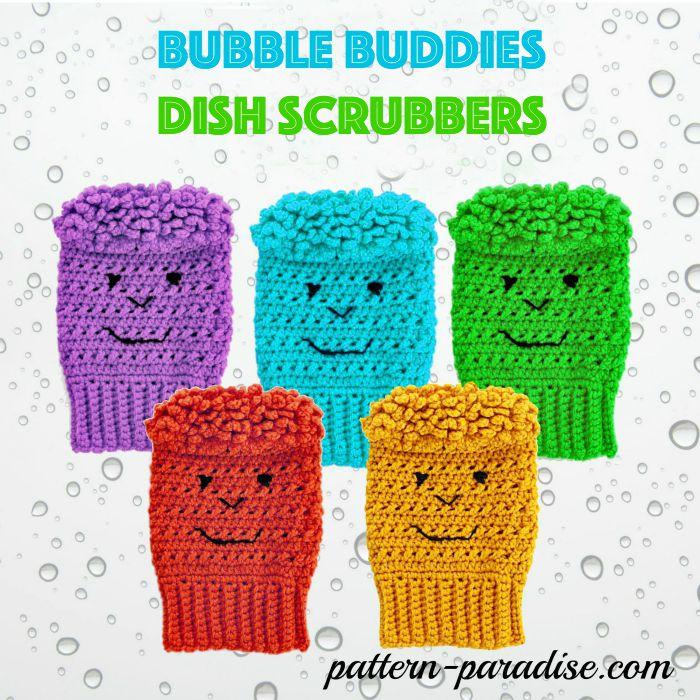 Crochet Pattern Bubble Buddies Dish Scrubbers by Pattern-Paradise.com