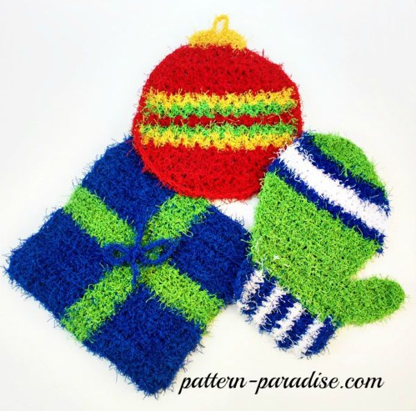 Free Crochet Pattern Holiday Scrubbies by Pattern-Paradise.com