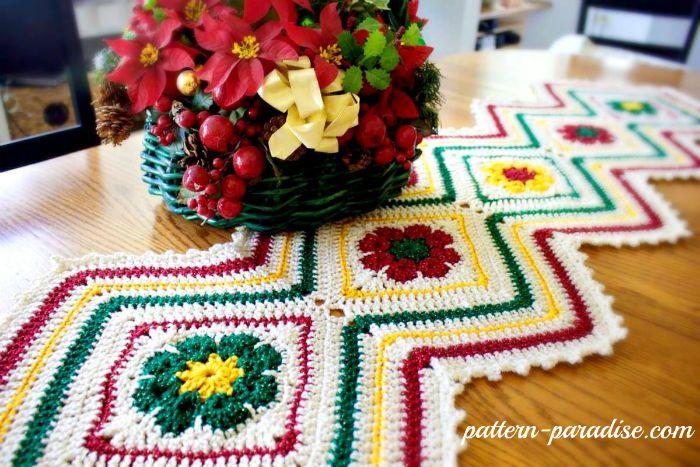 12 weeks of christmas blog hop CAL Free Crochet Patter Joyful Flowers Runner by Pattern-Paradise.com #12WeekChristmasCAL