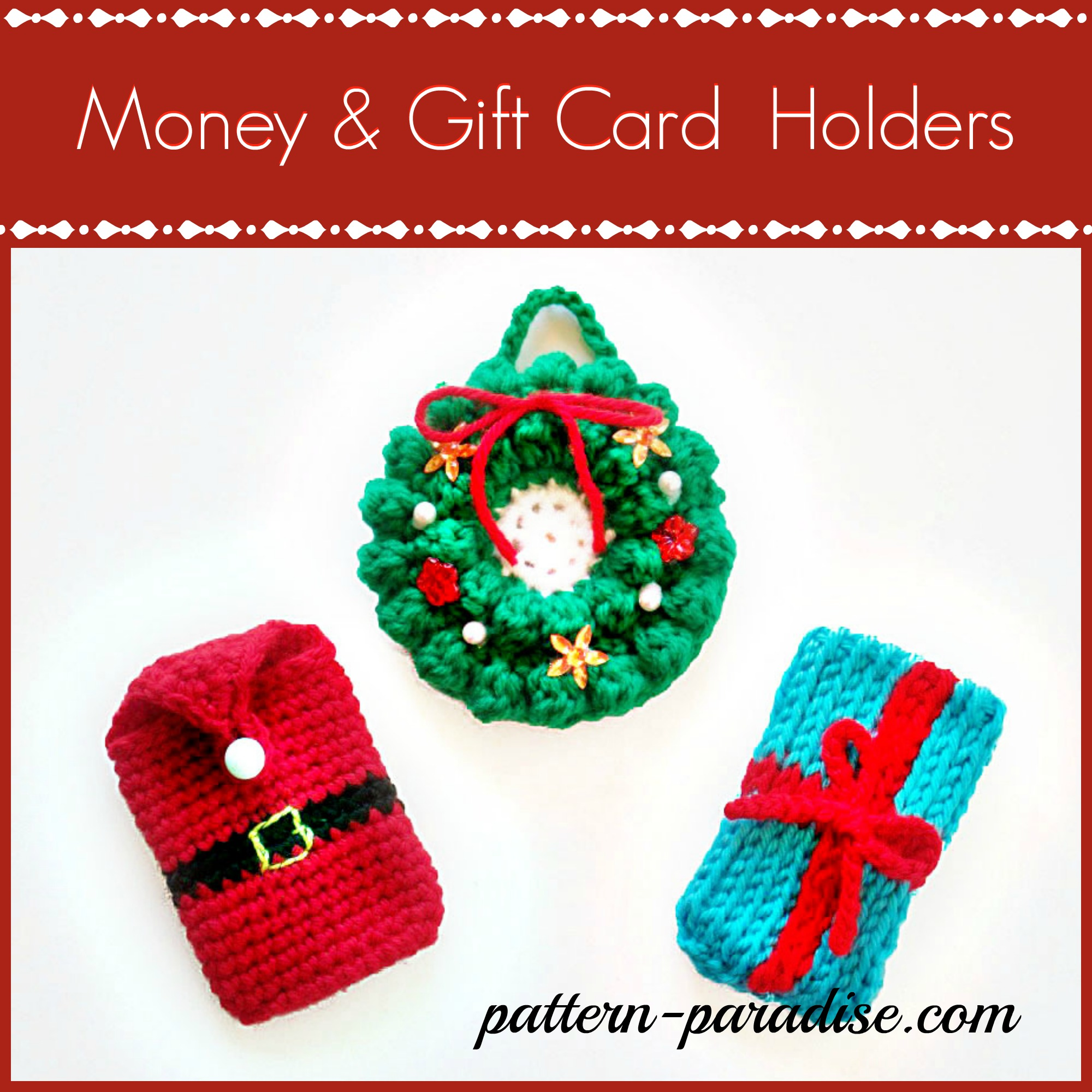 crochet pattern money gift card holder by pattern paradise