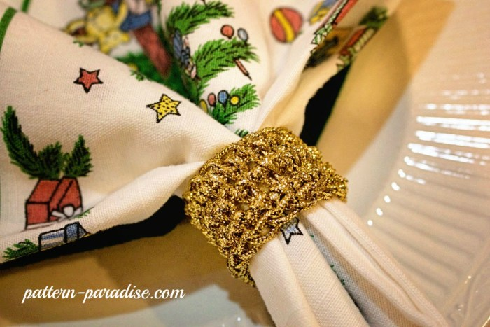 Golden Napkin Rings by Pattern-Paradise.com