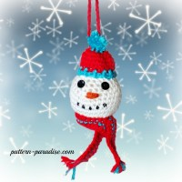 Snowman Crochet Christmas Tree Ornaments by Pattern-Paradise.com