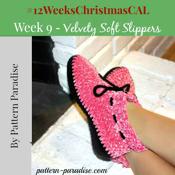 Crochet Pattern 12 weeks of christmas blog hop CAL Velvety Soft Slippers by Pattern-Paradise