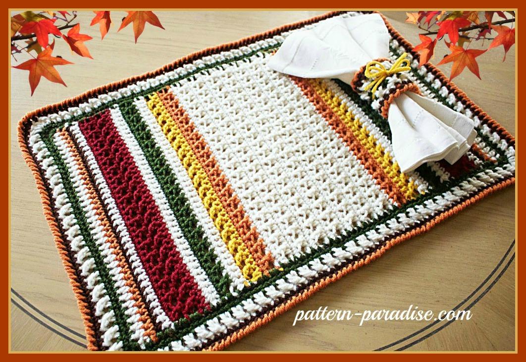 Free Crochet Pattern X Stitch Challenge Harvest Placemat Set