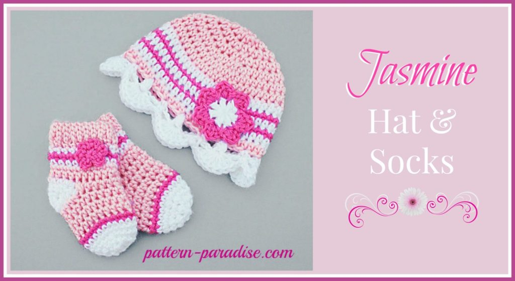 Crochet Pattern Jasmine Hat and Socks by Pattern-Paradise.com 9be9f88ed45
