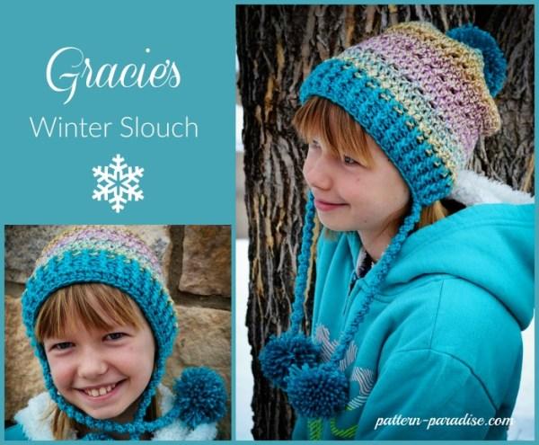 Crochet Pattern Gracies Winter Slouch by Pattern-Paradsie.com