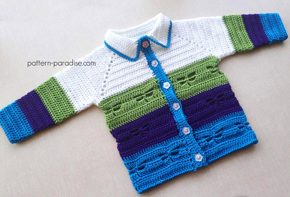Free Crochet Pattern: Dragonfly Jacket by pattern-paradise.com