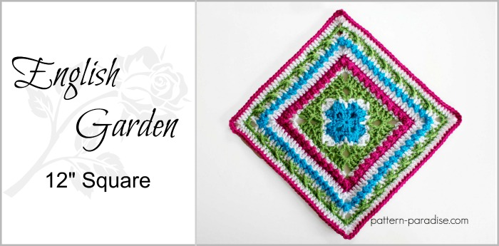 Free Crochet Pattern English Garden Afghan Square Pattern Paradise