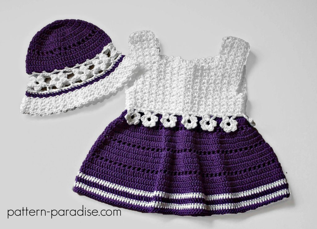 Crochet Pattern Violet Blooms Dress & Hat Set by Pattern-Paradise.com