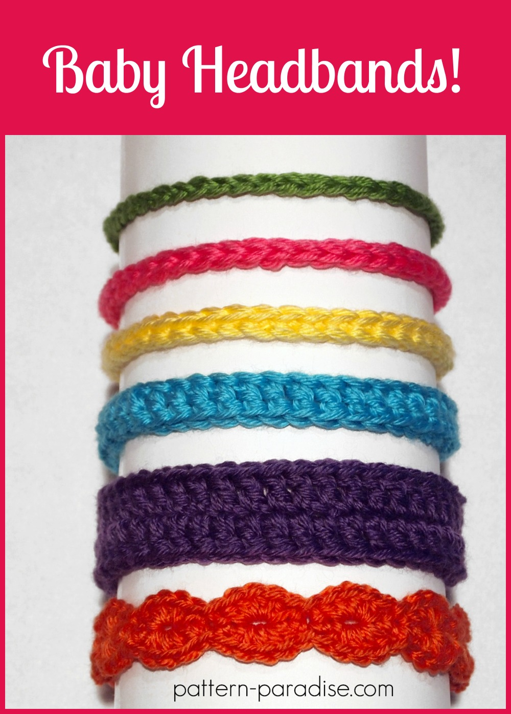 Free crochet pattern six styles of baby headbands pattern paradise free pattern crochet baby headbands by pattern paradise dt1010fo