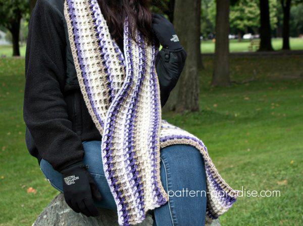 Free Crochet Pattern Alpine Nights Waffle Scarf by Pattern-Paradise.com