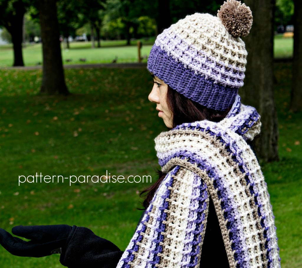 Free Crochet Pattern - Alpine Nights Waffle Beanie by Pattern-Paradise.com