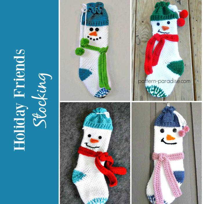 Crochet Pattern Holiday Friends Stocking by Pattern-Paradise.com