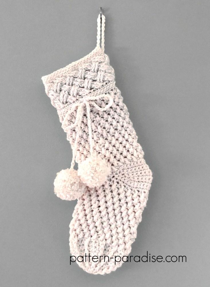 Ivory Snow Stocking Crochet Pattern by Pattern-Paradise.com