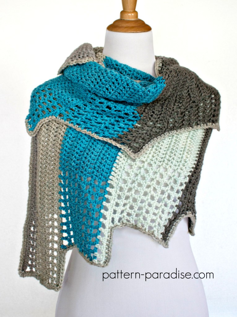 Free Crochet Pattern Blue Ridge Wrap by Pattern-Paradise.com