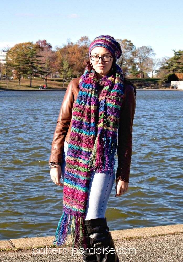 Free crochet pattern: Autumn Sunset Super Scarf by Pattern-Paradise.com