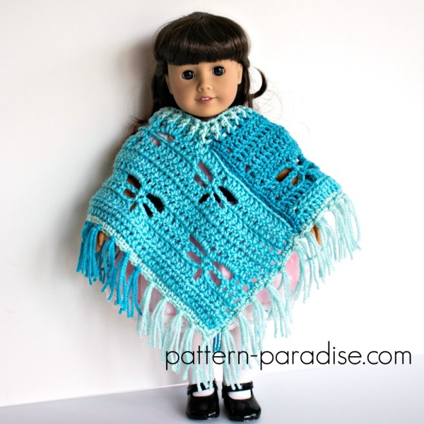 Free Crochet Pattern: Dragonfly Poncho for 18″ Dolls
