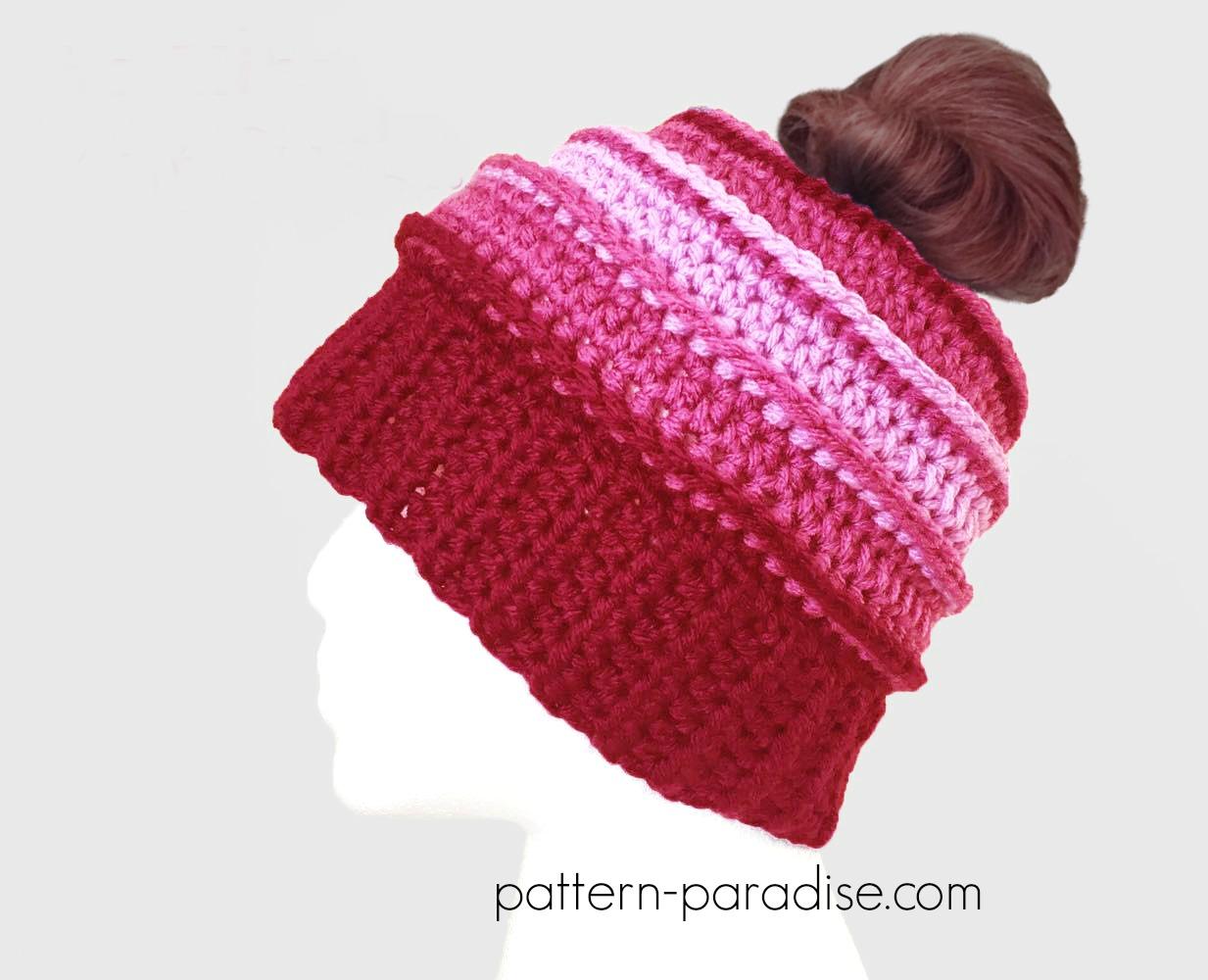 Free Crochet Pattern  Be Mine Messy Bun Hat  999a9c5b2