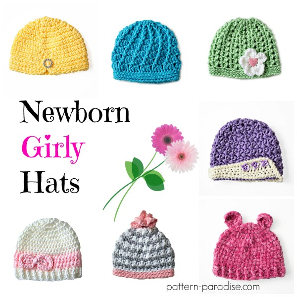 Crochet Pattern: Newborn Girly Hats
