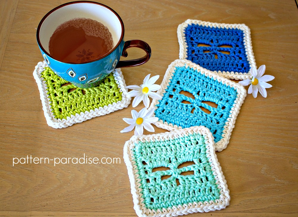 Free Crochet Pattern: Dragonfly Coasters