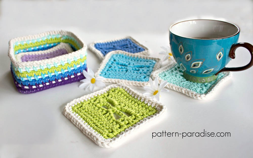 Free Crochet Pattern Dragonfly Coasters Caddy Pattern Paradise