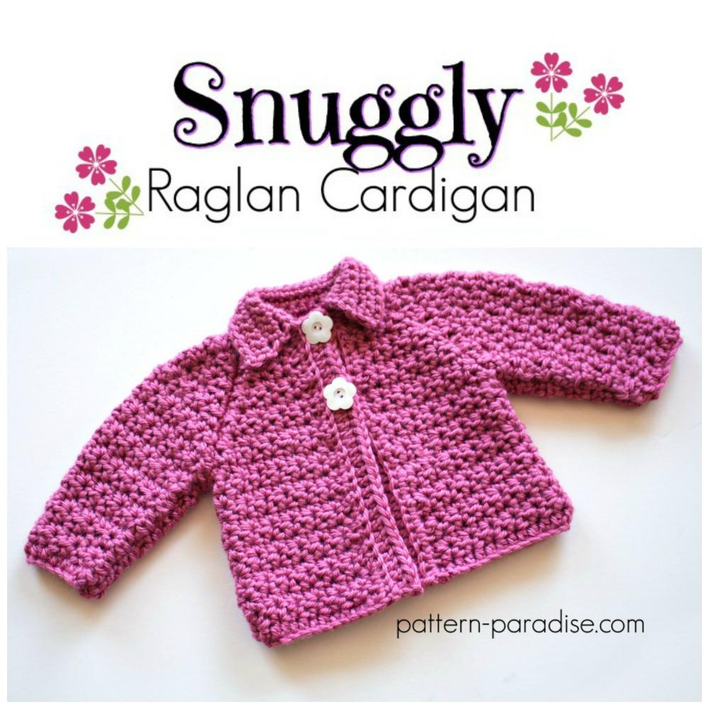 Free Crochet Pattern: Snuggly Raglan Cardigan | Pattern Paradise