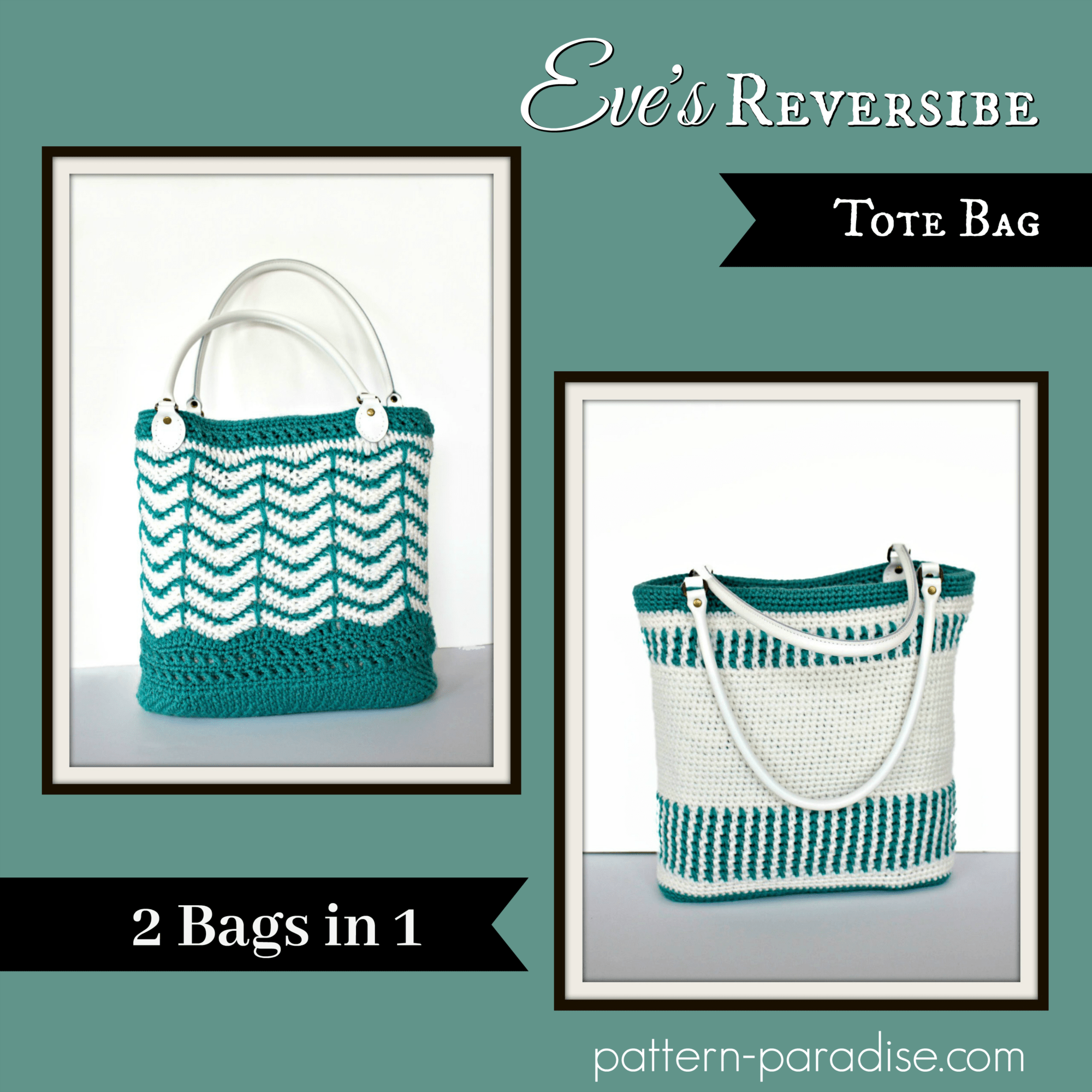 Free Crochet Pattern Eves Reversible Tote Bag Pattern Paradise