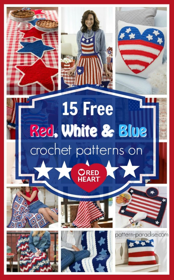 Crochet Finds Red Heart Yarns Free Red White And Blue Pattern