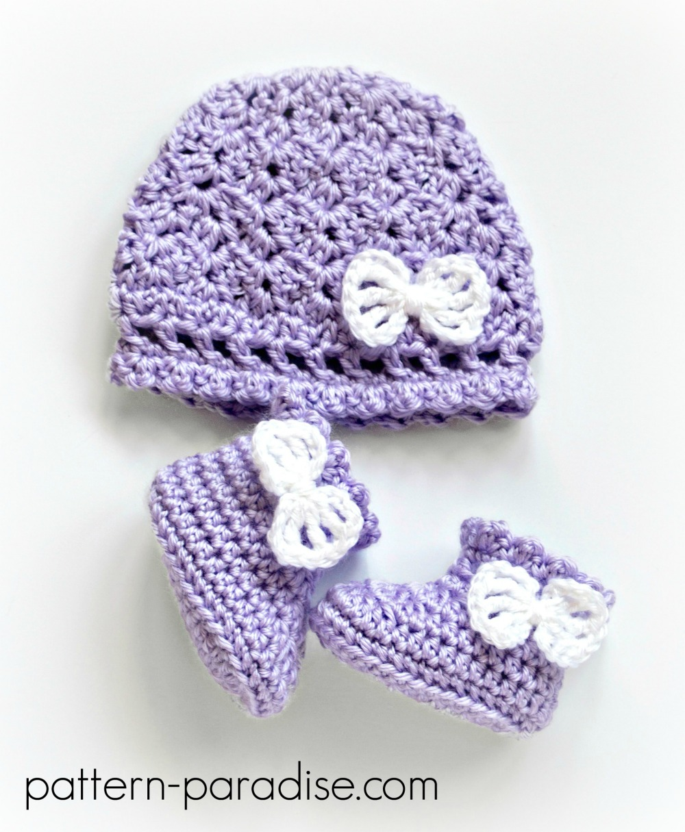 Georgie Hat and Booties Set by Pattern-Paradise.com