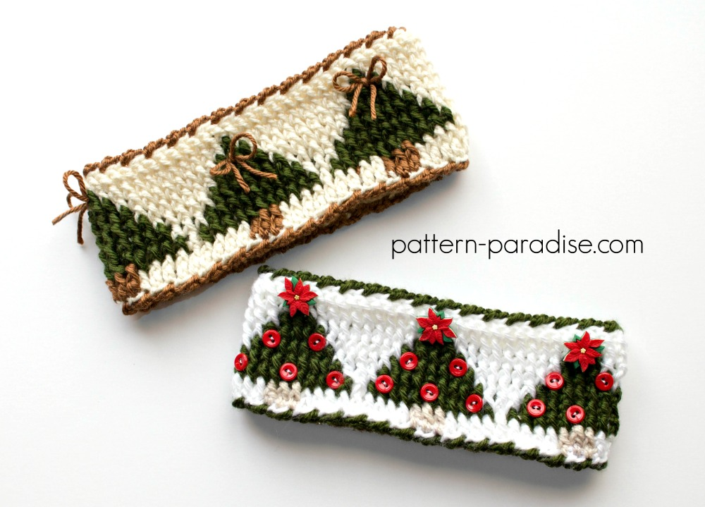Free Crochet Pattern Christmas Tree Headband