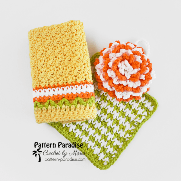 Free Crochet Pattern: Citrus Splash Dishcloth Set