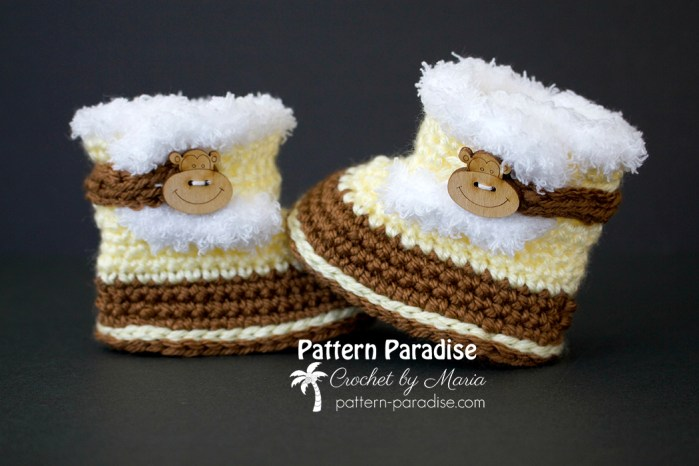 Free Crochet Pattern Fuzzy Baby Booties on Pattern-Paradise.com