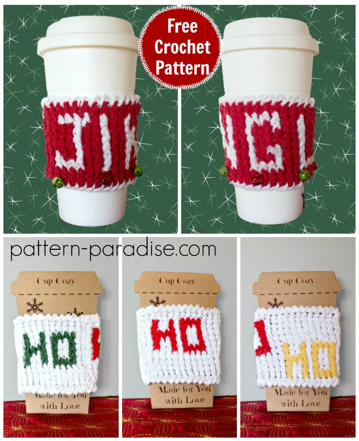 Free Crochet Pattern Holiday Cup Cozy Pattern Paradise