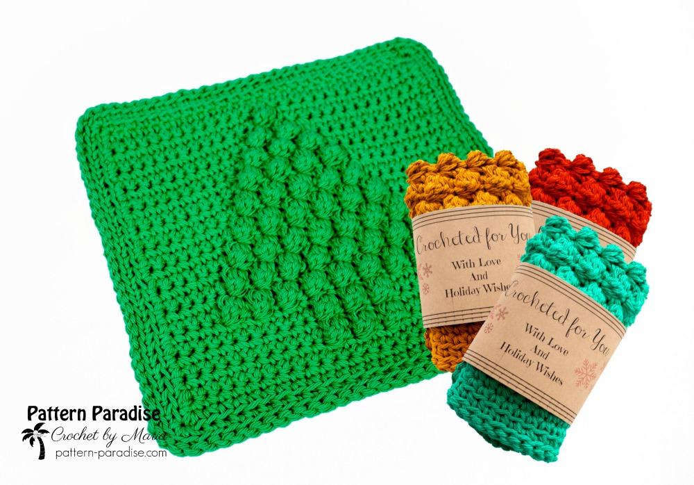 Free Crochet Pattern Christmas Tree Dish Cloth Pattern Paradise