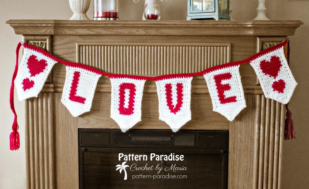 Free Crochet Pattern Love Banner Pattern Paradise